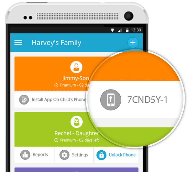 FamilyTime – Dashboard  Parent's Phone pick code
